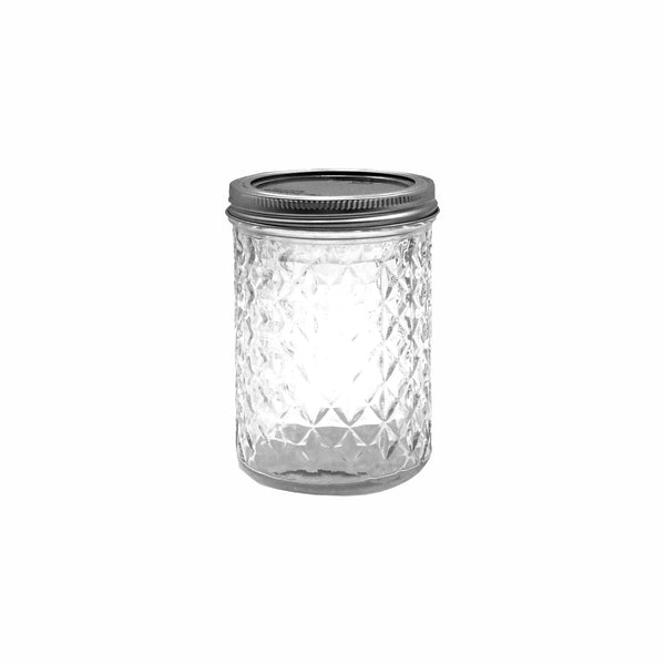 REGENT QUILTED CRYSTAL JELLY PRESERVE JAR WITH S/STEEL LID & BAND 6 PACK 350ML (75MM:DX150MM)