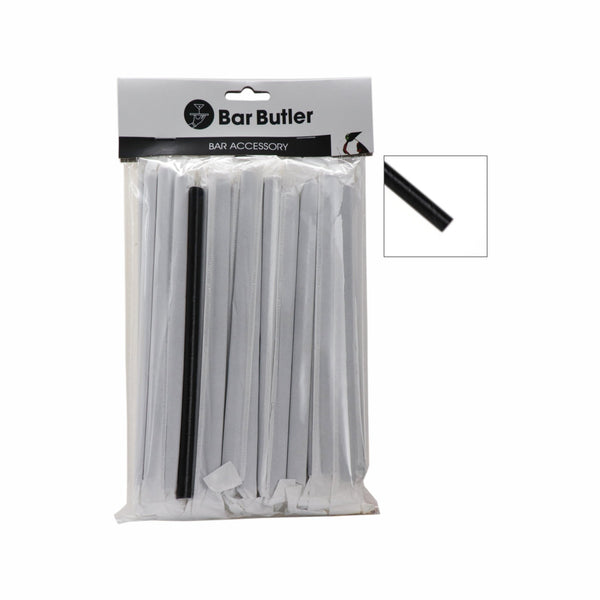 BAR BUTLER PAPER STRAWS BLACK 50 PACK 3 PLY WRAPPED + 1 UNWRAPPED, (8MM) 51 PIECES