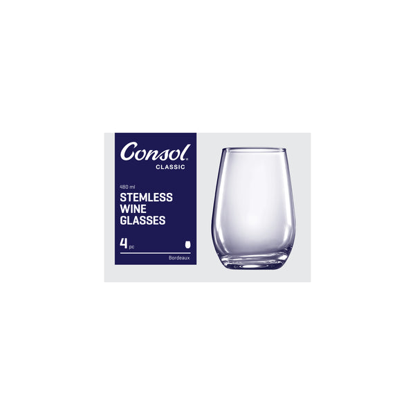 CONSOL BORDEAUX STEMLESS WINE GLASS, 4 PACK (480ML)
