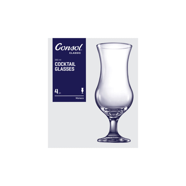 CONSOL MONACO COCKTAIL GLASS, 4 PACK (380ML)