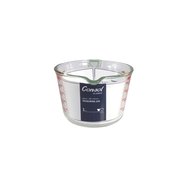 CONSOL PALMA MEASURING JUG BOROSILICATE WITH RED MARKINGS (500ML)