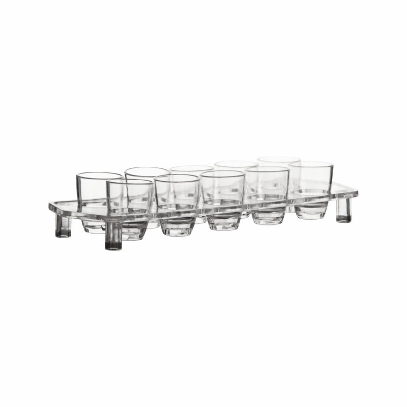 BAR BUTLER 10 CLEAR PLASTIC SHOT GLASSES ON TRAY (25ML)