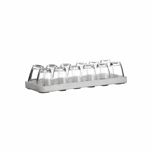 BAR BUTLER 12 CLEAR PLASTIC SHOT GLASSES ON TRAY (40ML)
