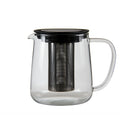 REGENT GLASS REDBUD TEAPOT WITH S/STEEL FILTER & BLACK PP LID (1L)