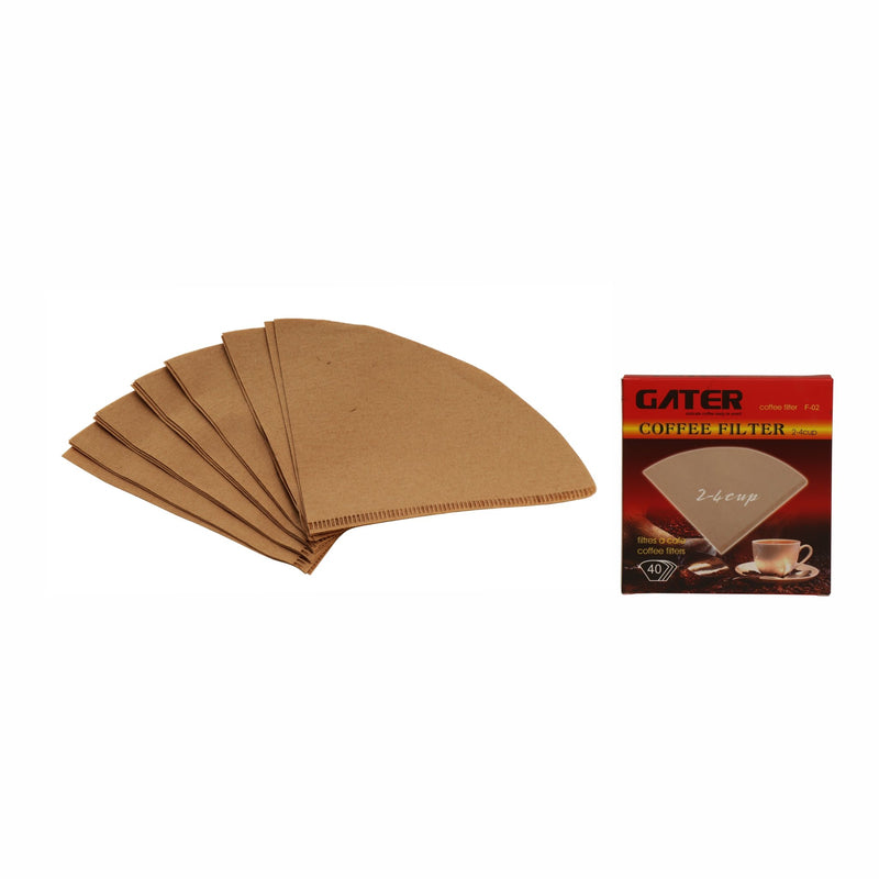 GATER COFFEE F-02 POINTED BOTTOM FILTERS 2-4 CUP, 40PC