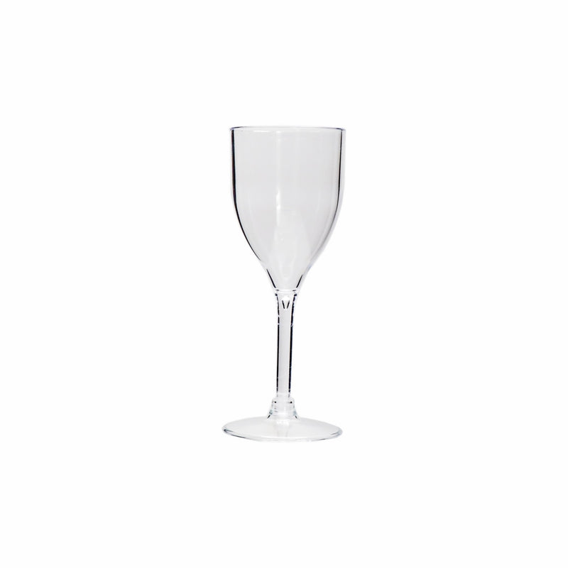CLEAR PLASTIC WINE GLASS 6 PACK, (200ML)