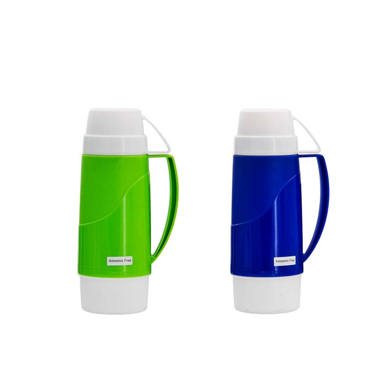 VACUUM FLASK WITH GLASS LINER ASST. BLUE & GREEN PP BODY, (500ML)