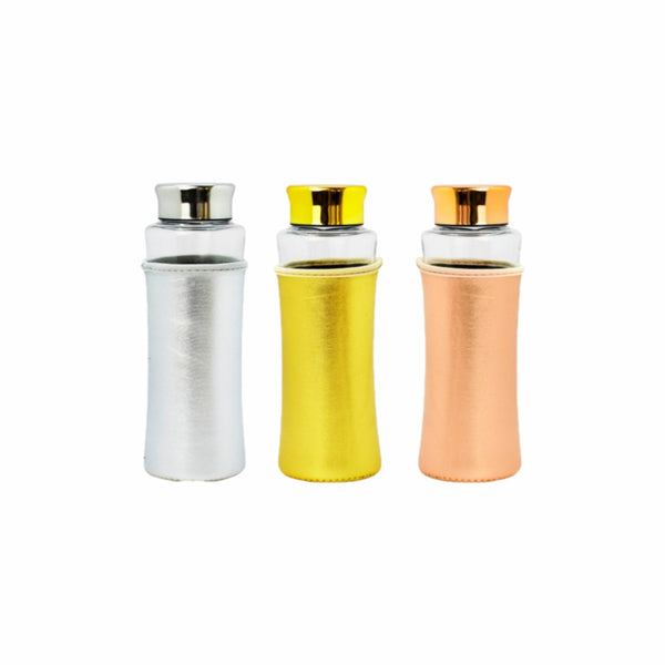 REGENT GLASS WATER BOTTLE WITH PU SLEEVE 3 ASST. COLOURS 580ML (65MM:DX260MM)