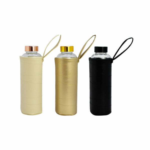 REGENT GLASS WATER BOTTLE WITH 3 ASST. COLOURED PU SLEEVES, 600ML (250MMX65MM DIA)