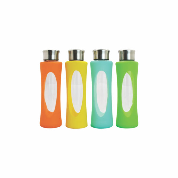 REGENT GLASS WATER BOTTLE WITH SILICONE SLEEVE & SILVER METAL LID 4 ASST.COLOURS 580ML (65MM:DX260M)