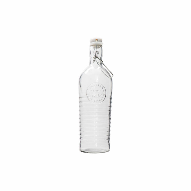 REGENT GLASS WATER BOTTLE WITH MOTIF & CLIP-TOP LID 1LT (95MM:DX290MM)