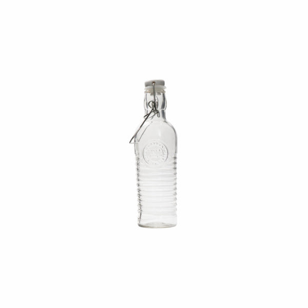 REGENT GLASS WATER BOTTLE WITH MOTIF & CLIP-TOP LID 500ML (75MM:DX230MM)