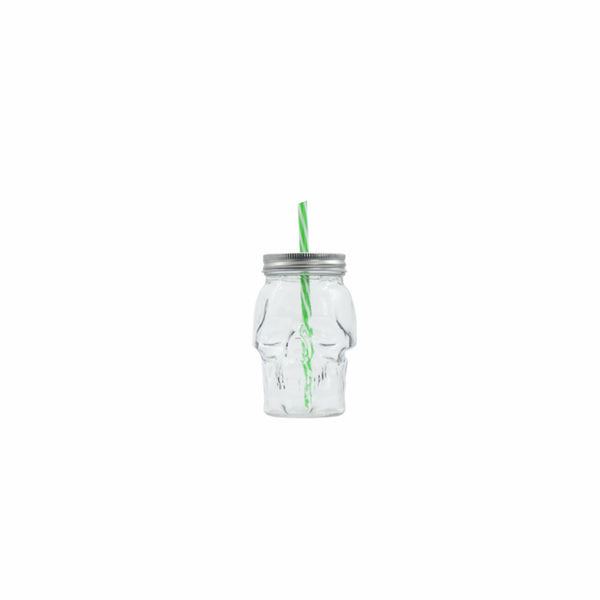 REGENT GLASS SKULL MASON JAR CLEAR WITH METAL LID & STRAW (450ML)