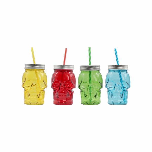 REGENT GLASS SKULL MASON JAR 4 ASST. COLOURS WITH METAL LID & STRAW, 450ML (135X90X90MM)
