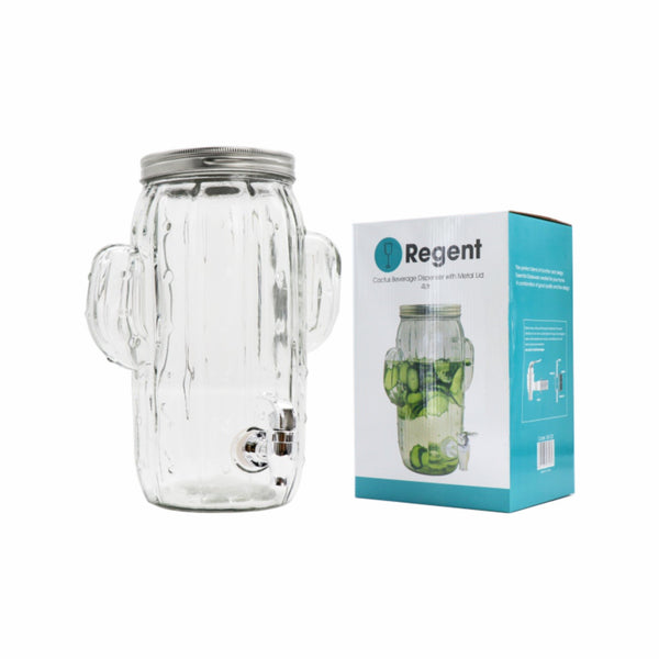 REGENT GLASS CACTUS BEVERAGE DISPENSER CLEAR WITH METAL LID (4L)