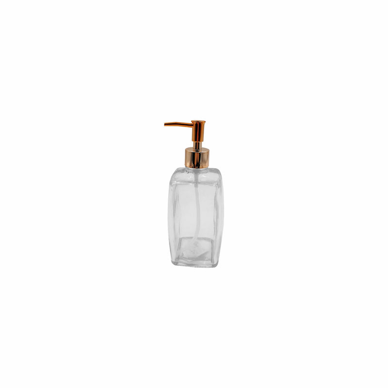 REGENT SQUARE GLASS SOAP DISPENSER WITH ROSE GOLD PUMP 500ML