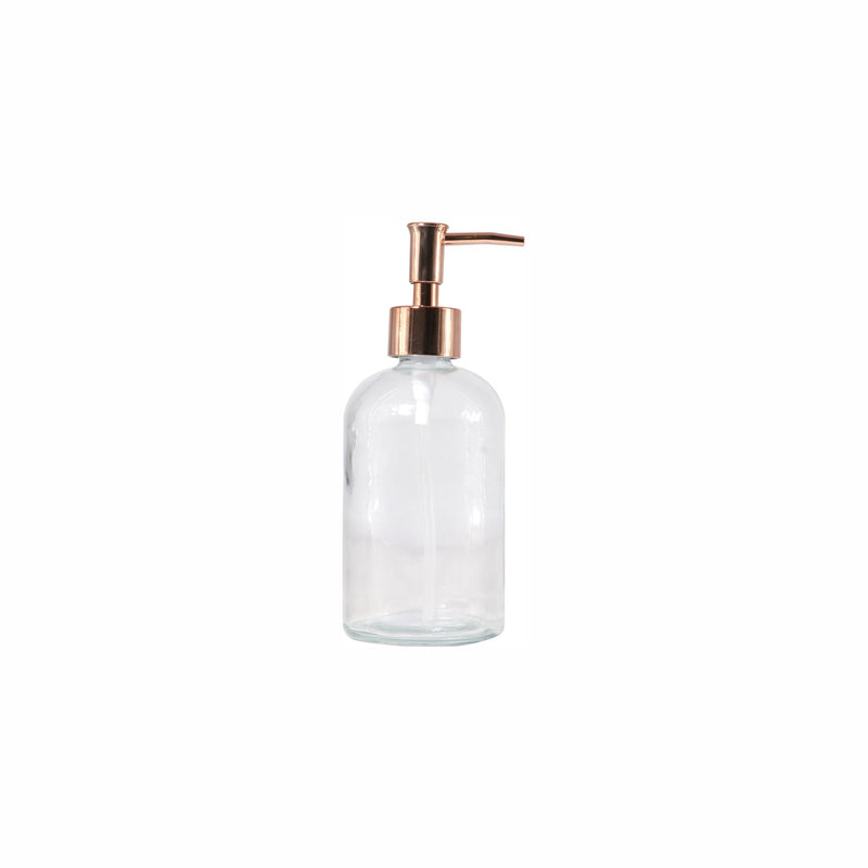 REGENT ROUND GLASS SOAP DISPENSER WITH ROSE GOLD PLASTIC PUMP, 500ML (190MMX75MM DIA)