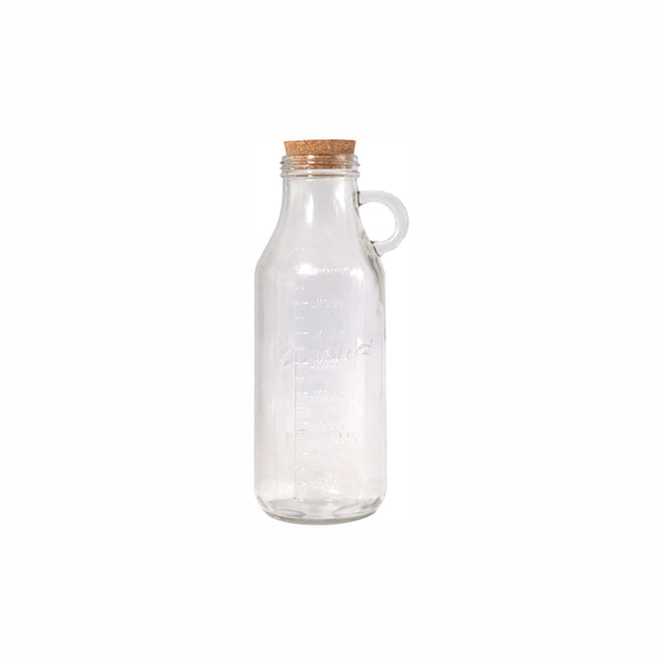 REGENT GLASS WATER BOTTLE CLEAR WITH RING HANDLE & CORK STOPPER 800ML (95/85MM:DX250MM)