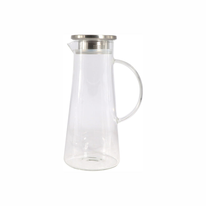 REGENT BOROSILICATE GLASS WATER JUG WITH HANDLE AND STAINLESS STEEL LID, 1.35LT (285X12X170MM)