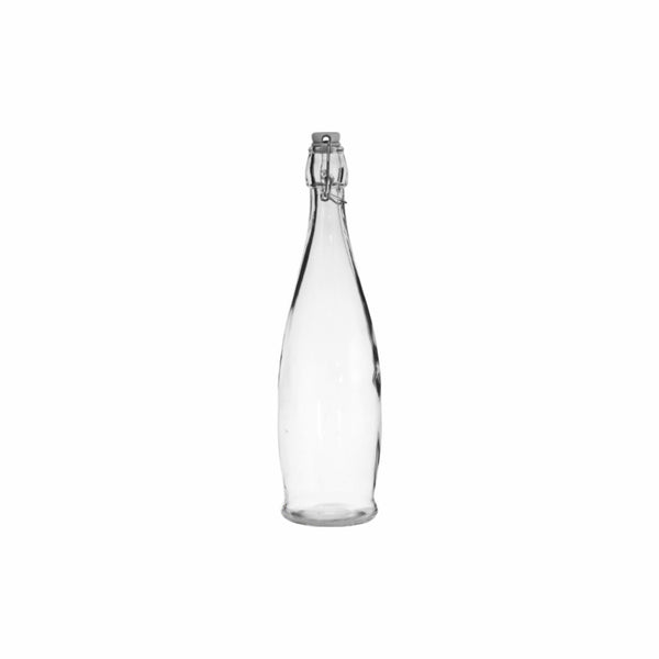 REGENT GLASS BOTTLE WITH WHITE CLIP-TOP LID (1L) (80MM:DX330MM)