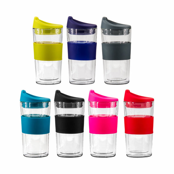 DOUBLE WALL TRAVEL MUG WITH SILICONE LID, ASSORTED COLOURS (300ML)