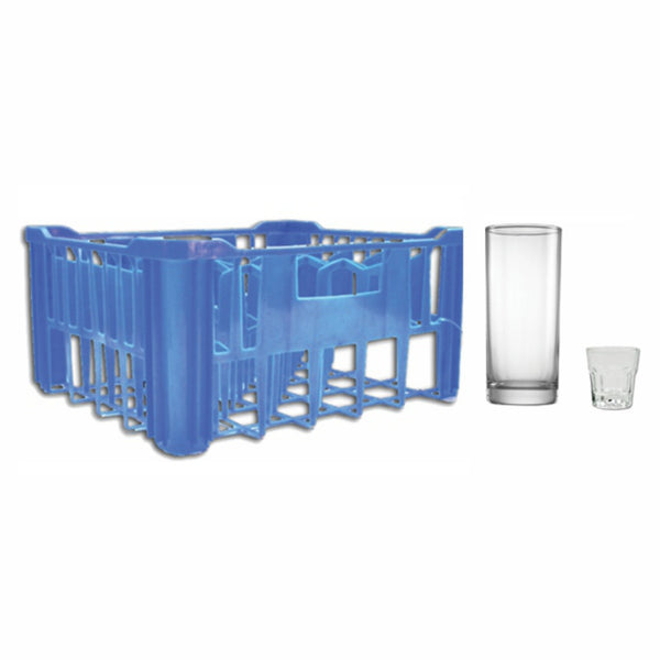 REGENT BLUE PLASTIC CRATE WITH HIBALL TUMBLERS (30S) & SHOOTERS (6)