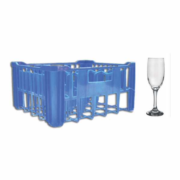 REGENT PLASTIC BLUE CRATE WITH CHAMPAGNE FLUTES, 30S (190ML)