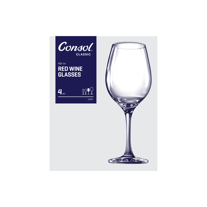 CONSOL LYON STEM RED WINE GLASS 4 PACK, (490ML)