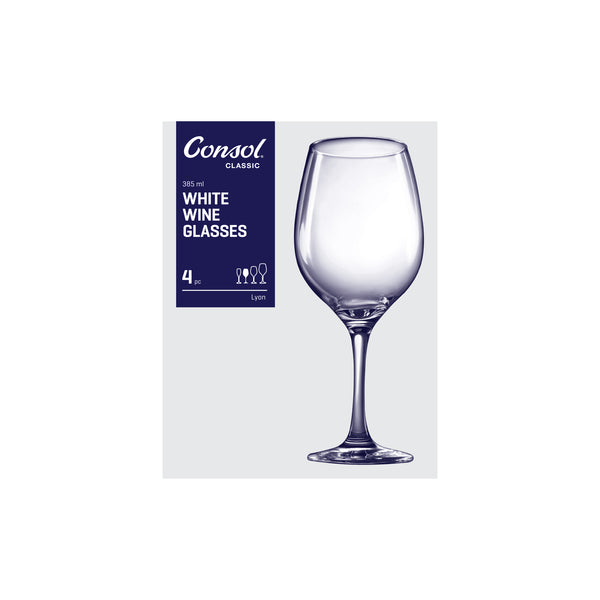 CONSOL LYON STEM WHITE WINE GLASS, 4 PACK (385ML)
