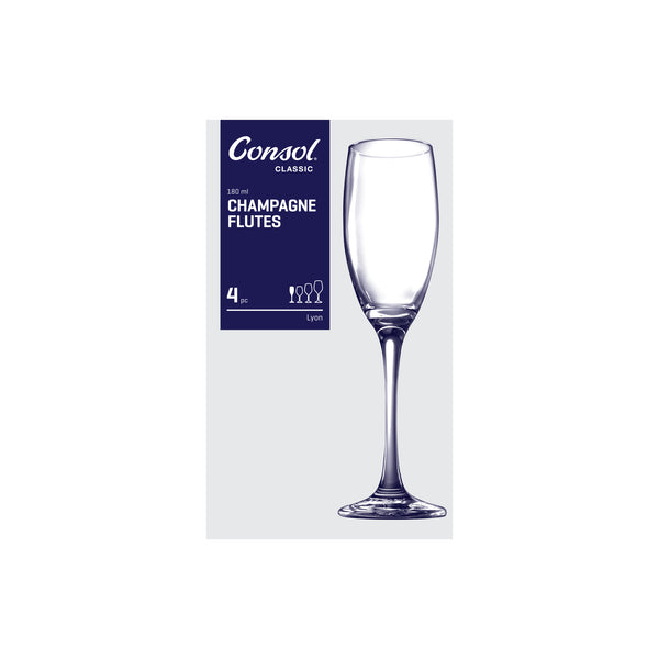 CONSOL LYON STEM CHAMPAGNE FLUTE, 4 PACK (180ML)