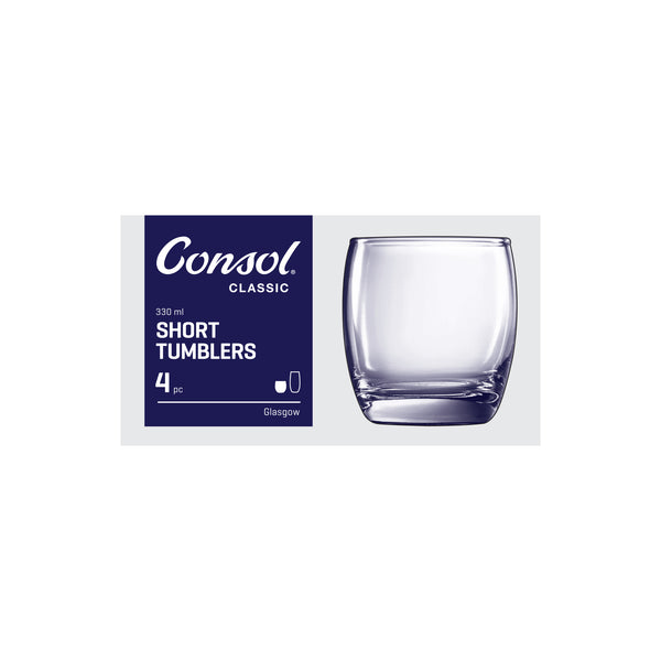 CONSOL GLASGOW WHISKEY TUMBLER, 4 PACK (330ML)