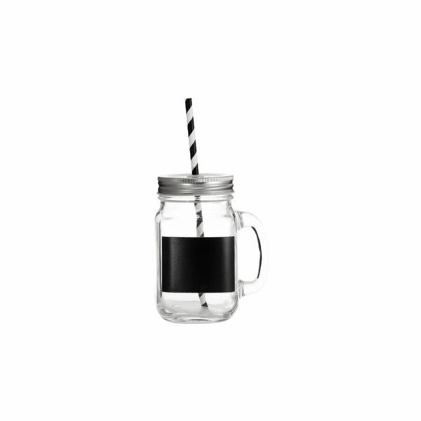 REGENT GLASS MASON JAR MUG WITH BLACK NOTES, LID & STRAW, 450ML (135X78X105MM)