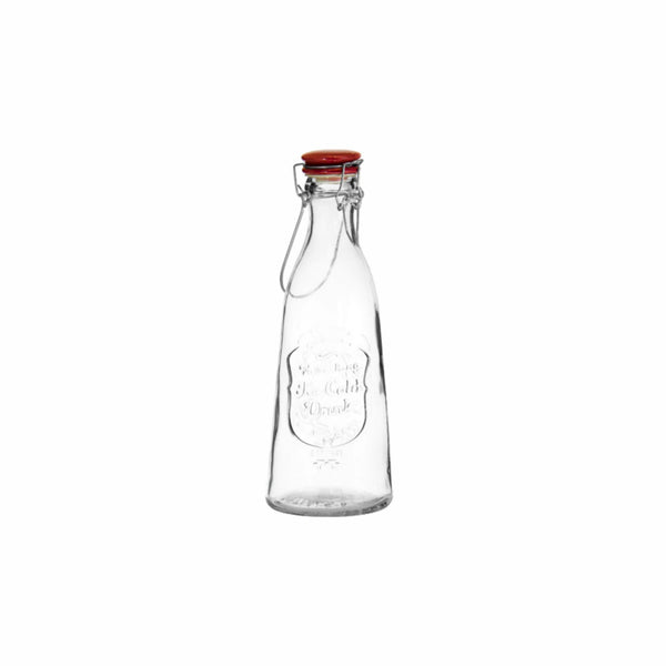 REGENT EMBOSSED DESIGN GLASS BOTTLE WITH RED CLIP-TOP LID (1L) 102MM:DX290MM