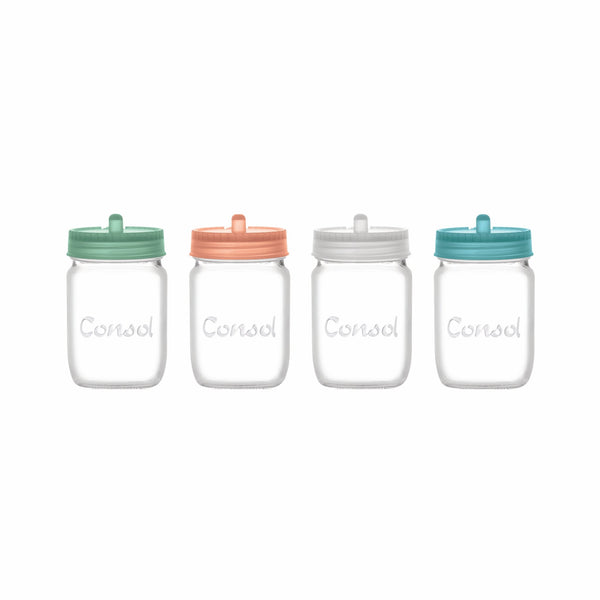 CONSOL SUGAR JAR WITH ASST. COLOURED LIDS 250ML (CORAL,GREEN,BLUE,WHITE)