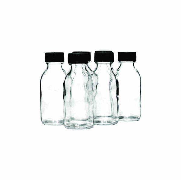 CONSOL PHARMACEUTICAL BOTTLE WITH BLACK LID, 6 PACK (100ML)