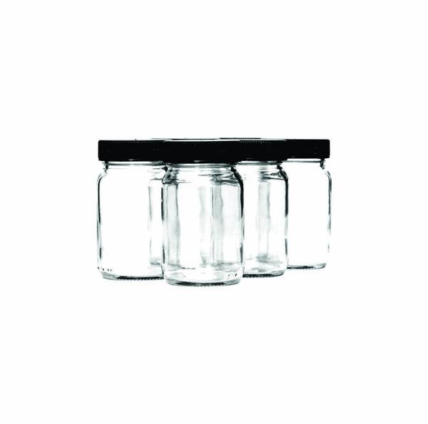 CONSOL PHARMACEUTICAL JAR WITH BLACK LID, 6 PACK (125ML)