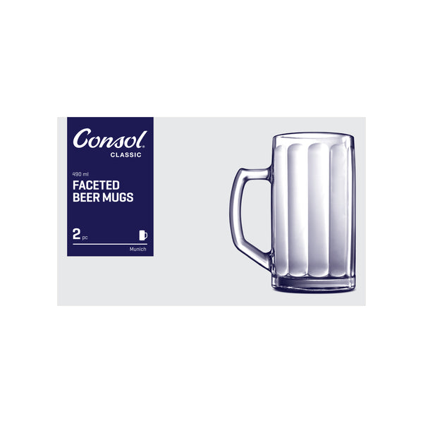 CONSOL MUNICH FACETED BEER MUG, 2 PACK (490ML)