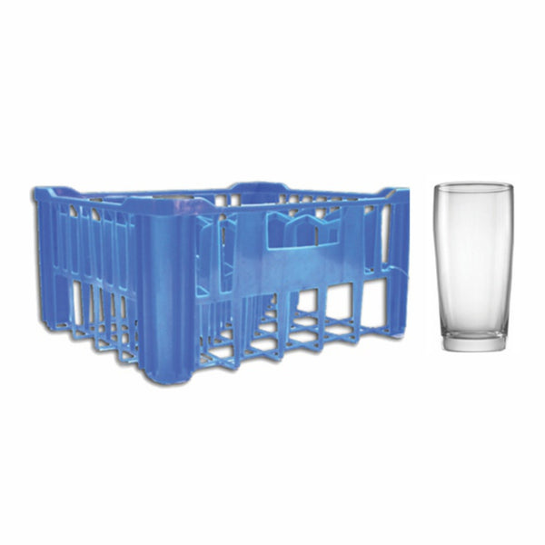 REGENT BLUE PLASTIC CRATE WITH WILLY TUMBLERS, 30S