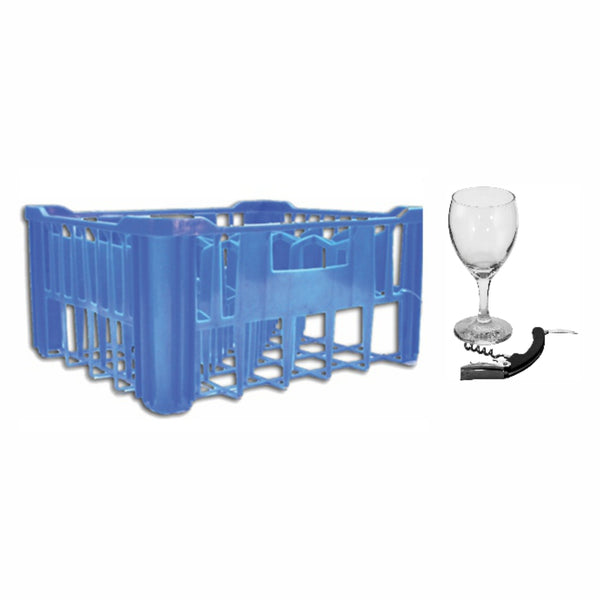 REGENT BLUE PLASTIC CRATE WITH WINE GLASSES, 30S (250ML) & WAITERS FRIEND