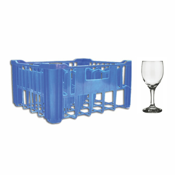 REGENT BLUE PLASTIC CRATE WITH WINE GLASSES, 30S (250ML)