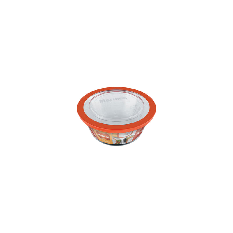 MARINEX ROUND FOOD STORAGE CONTAINER WITH PLASTIC LID, 1.2LT (178MM:DX80MM)