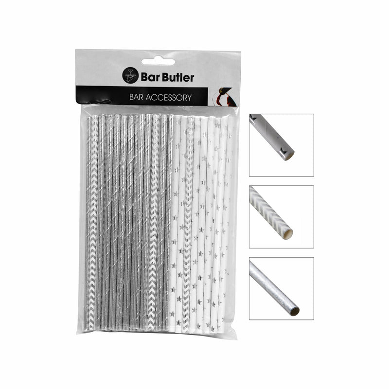 BAR BUTLER PAPER STRAWS SILVER MIXED PACK 3 PLY (6MM) 60PCS