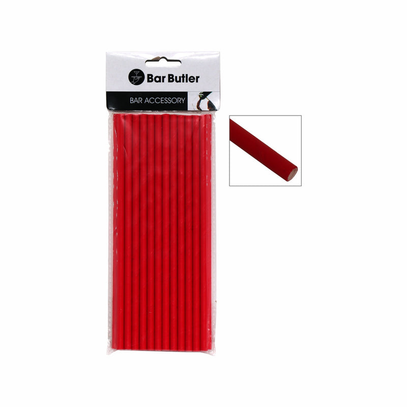 BAR BUTLER PAPER STRAWS RED 3 PLY (6MM) 25PCS