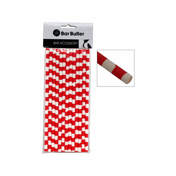 BAR BUTLER PAPER STRAWS RED & WHITE CHECK 3 PLY (6MM) 25PCS