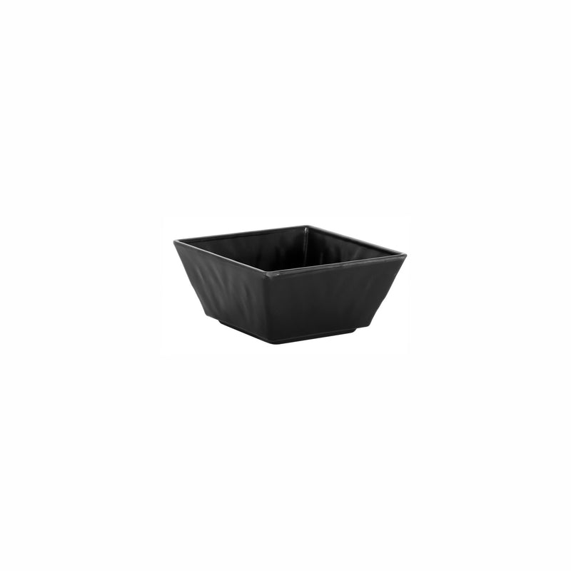 REGENT MELAMINE SERVING BOWL TAPERED RIPPLE SQUARE BLACK (178X178X86MM)
