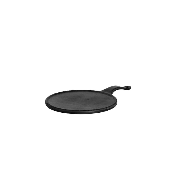 REGENT MELAMINE PADDLE SERVING BOARD ROUND BLACK, (198MM:DX305X20MM)