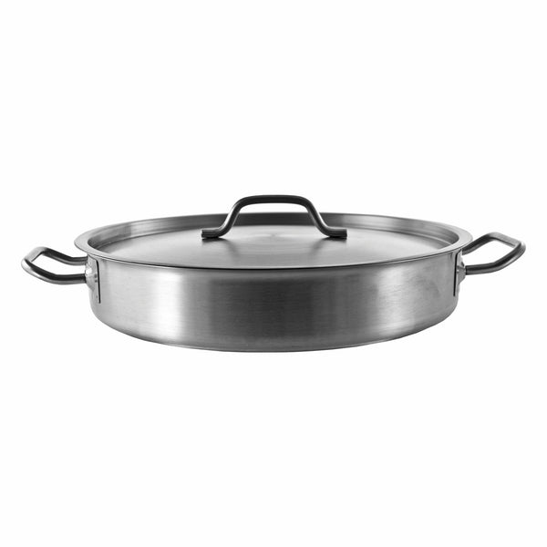 REGENT COOKWARE LOW CASSEROLE WITH WELDED HANDLES S/STEEL 7L (360MM:DX70MM)