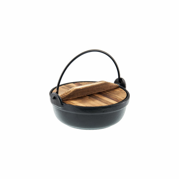 REGENT COOKWARE CAST IRON HOT POT WITH BLACK ENAMEL COATING & WOOD LID (170MM:DIA)
