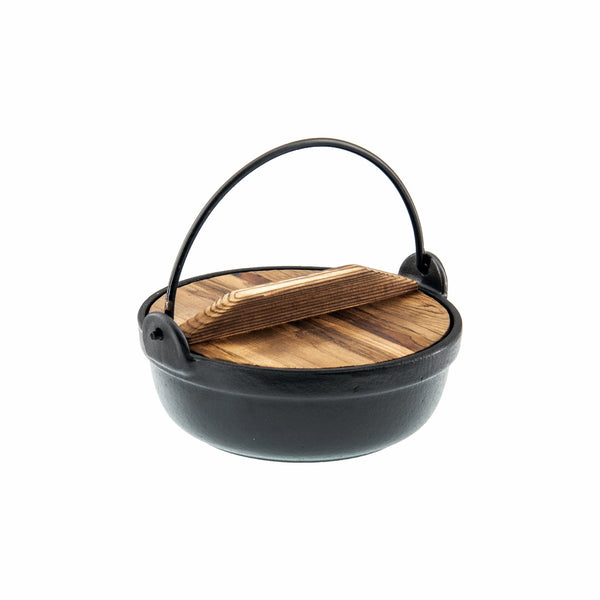 REGENT COOKWARE CAST IRON HOT POT WITH HANDLE, BLACK ENAMEL COATING & WOOD LID (210MM:DIA)