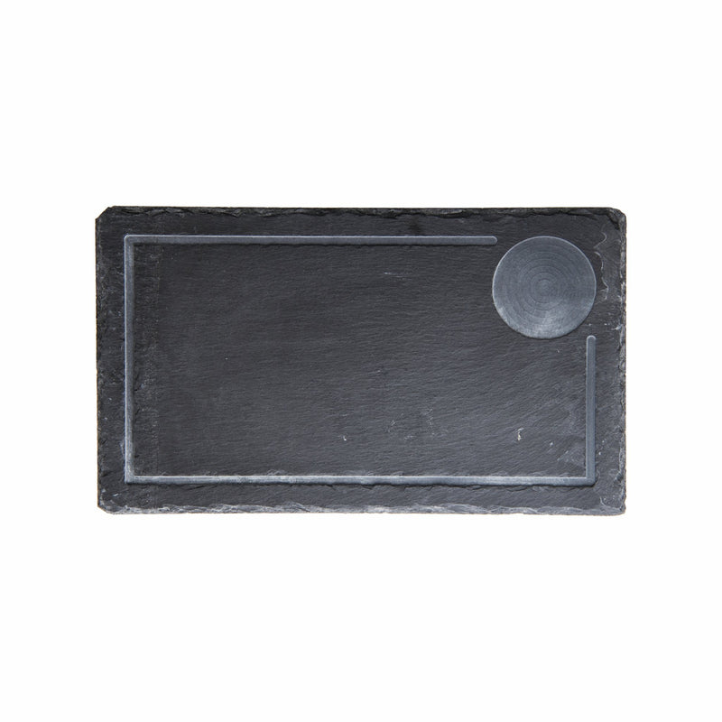 REGENT SLATE STEAK PLATE WITH GROOVE & SAUCE BOWL CUT OUT (360X210MM)
